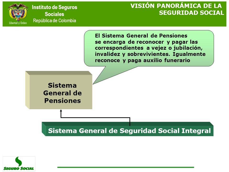 Instituto de Seguros Sociales República de Colombia Sistema General de Seguridad Social Integral Sistema General de Pensiones El Sistema General de Pe
