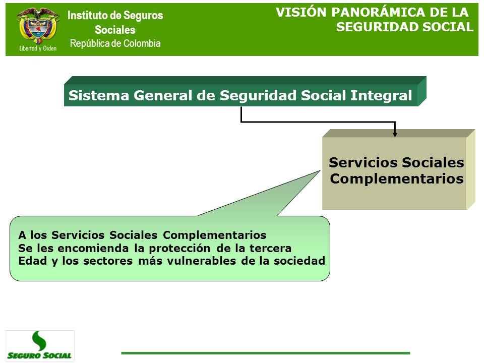 Instituto de Seguros Sociales República de Colombia Sistema General de Seguridad Social Integral Servicios Sociales Complementarios A los Servicios So