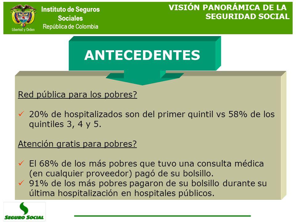 Instituto de Seguros Sociales República de Colombia Red pública para los pobres? 20% de hospitalizados son del primer quintil vs 58% de los quintiles
