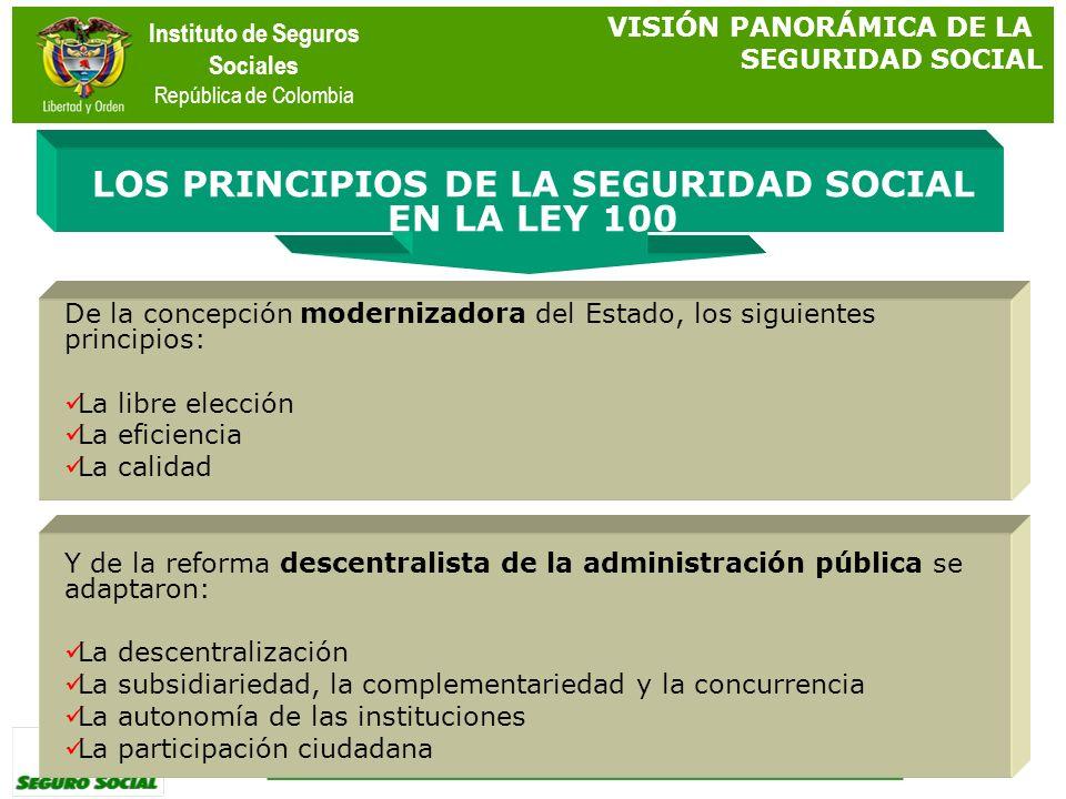Instituto de Seguros Sociales República de Colombia De la concepción modernizadora del Estado, los siguientes principios: La libre elección La eficien