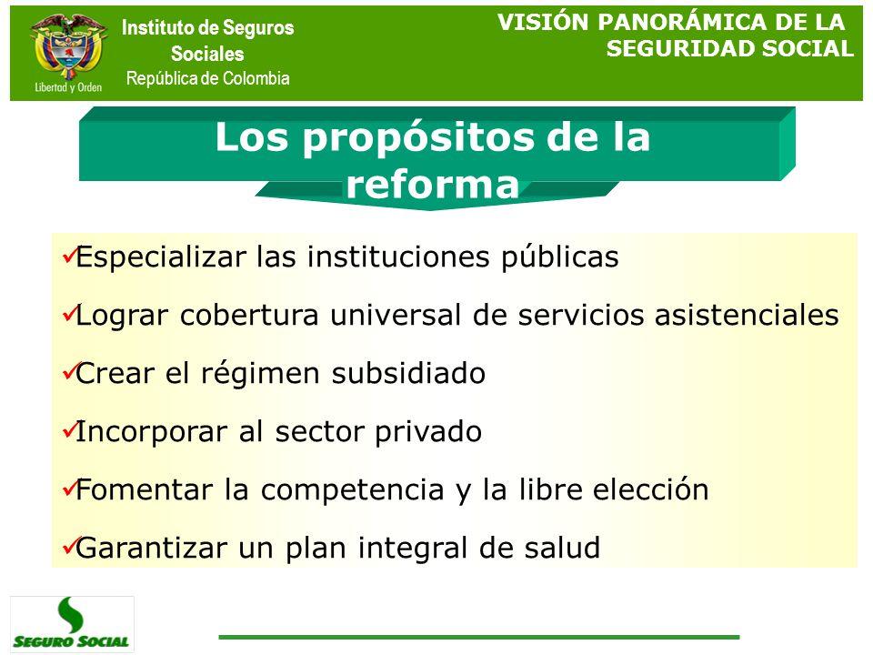 Instituto de Seguros Sociales República de Colombia Los propósitos de la reforma VISIÓN PANORÁMICA DE LA SEGURIDAD SOCIAL Especializar las institucion