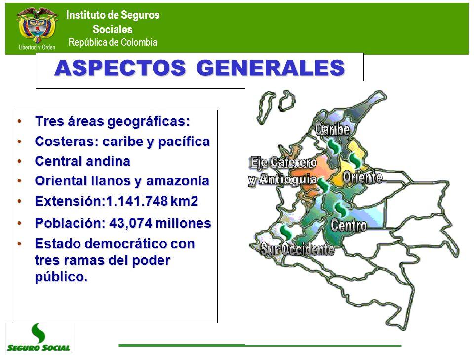 ASPECTOS GENERALES Tres áreas geográficas:Tres áreas geográficas: Costeras: caribe y pacíficaCosteras: caribe y pacífica Central andinaCentral andina