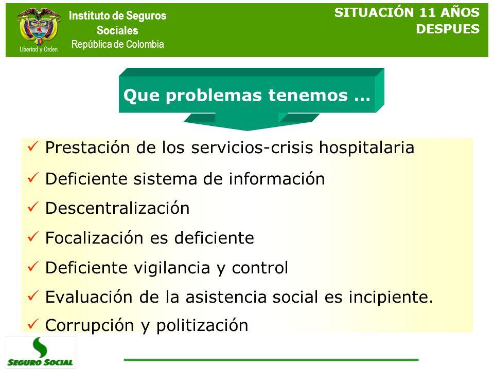 Instituto de Seguros Sociales República de Colombia Algunos problemas … Prestación de los servicios-crisis hospitalaria Deficiente sistema de informac