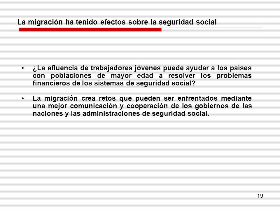 19 La migración ha tenido efectos sobre la seguridad social ¿La afluencia de trabajadores jóvenes puede ayudar a los países con poblaciones de mayor e