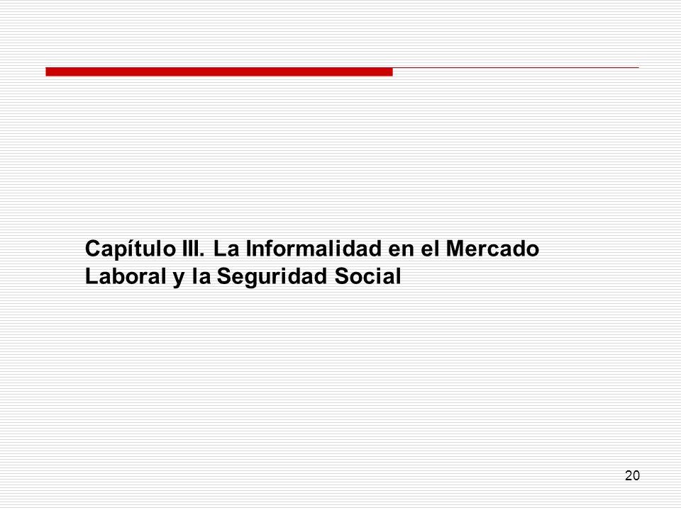 20 Capítulo III. La Informalidad en el Mercado Laboral y la Seguridad Social