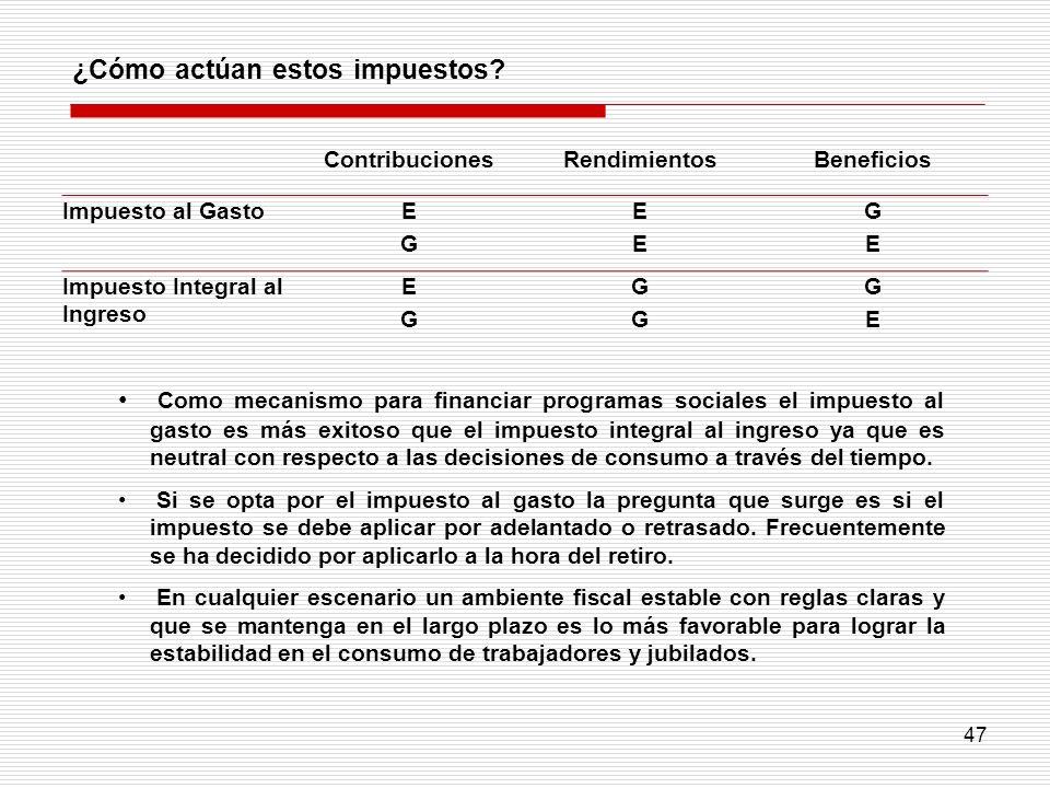 47 ¿Cómo actúan estos impuestos? Como mecanismo para financiar programas sociales el impuesto al gasto es más exitoso que el impuesto integral al ingr