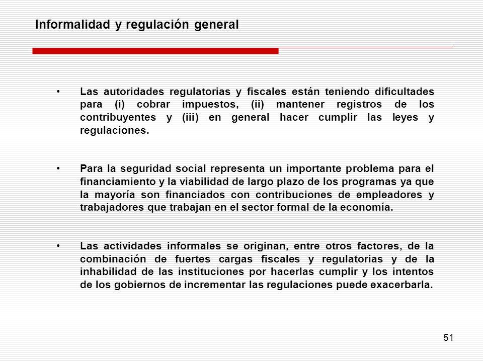 51 Informalidad y regulación general Las autoridades regulatorias y fiscales están teniendo dificultades para (i) cobrar impuestos, (ii) mantener regi