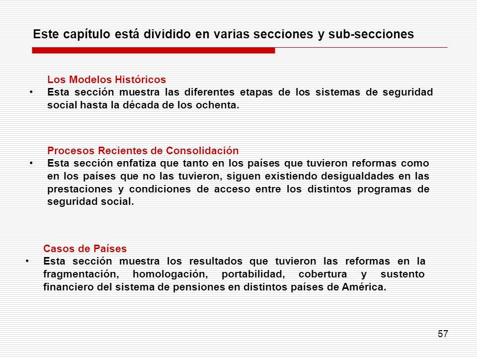 57 Este capítulo está dividido en varias secciones y sub-secciones Procesos Recientes de Consolidación Esta sección enfatiza que tanto en los países q