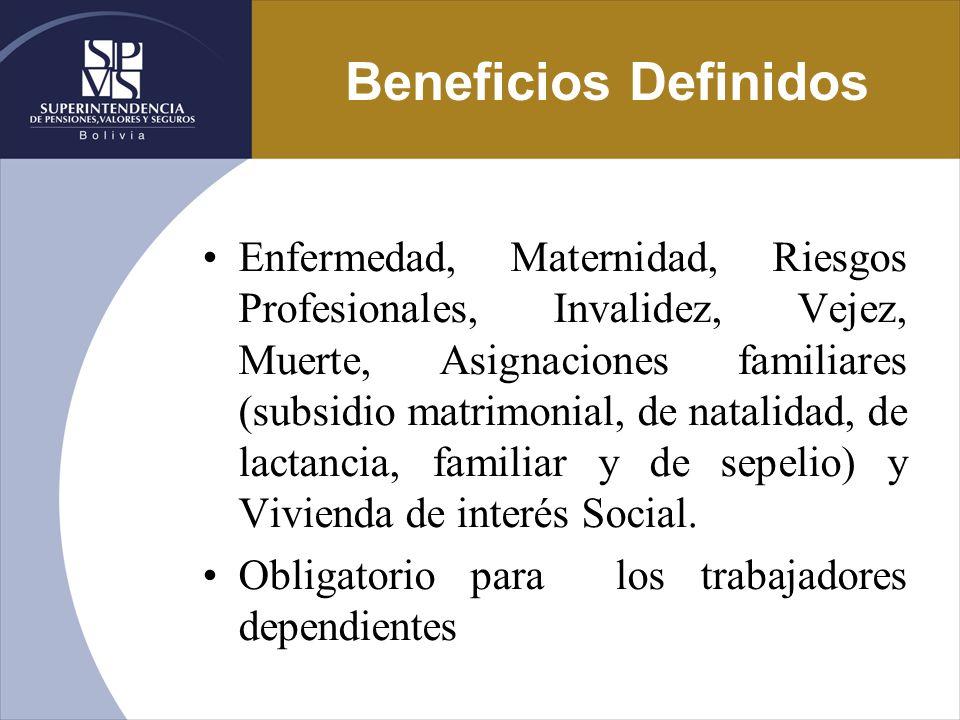 Beneficios Definidos Enfermedad, Maternidad, Riesgos Profesionales, Invalidez, Vejez, Muerte, Asignaciones familiares (subsidio matrimonial, de natali