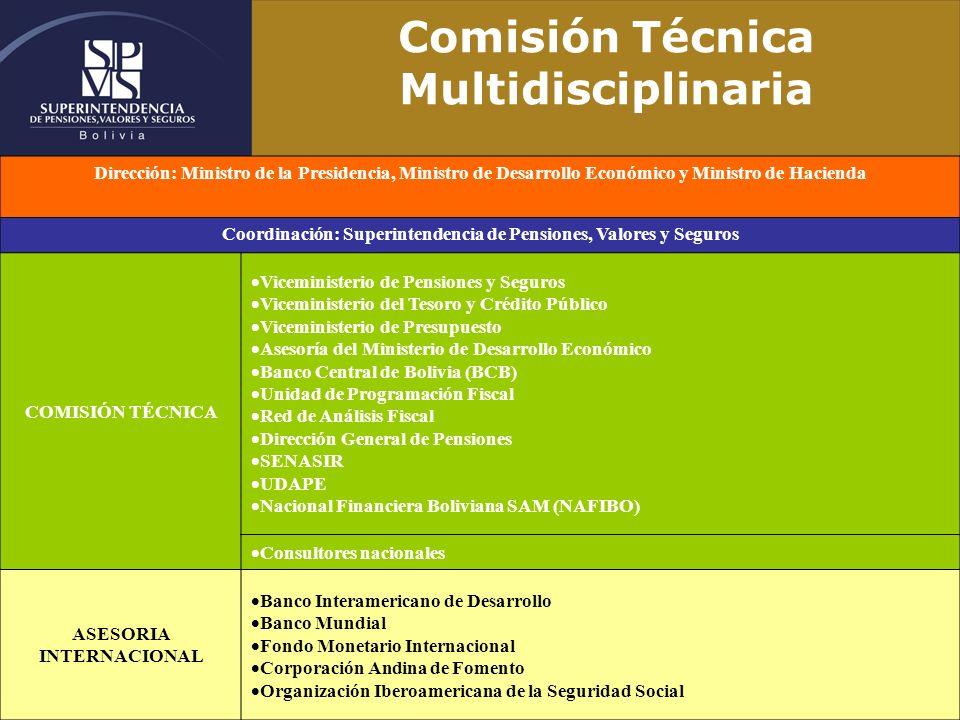 Comisión Técnica Multidisciplinaria Dirección: Ministro de la Presidencia, Ministro de Desarrollo Económico y Ministro de Hacienda Coordinación: Super