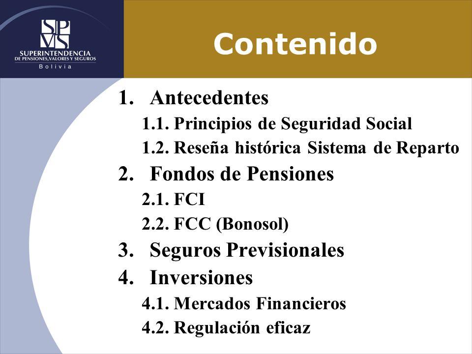 Contenido 1.Antecedentes 1.1. Principios de Seguridad Social 1.2. Reseña histórica Sistema de Reparto 2.Fondos de Pensiones 2.1. FCI 2.2. FCC (Bonosol