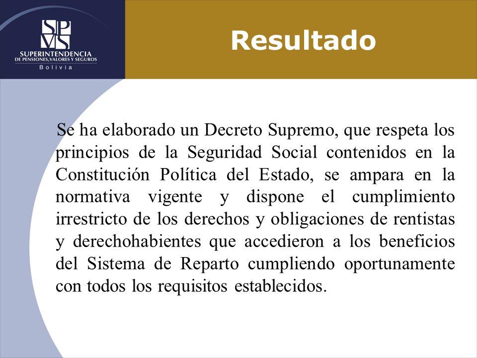 Resultado Se ha elaborado un Decreto Supremo, que respeta los principios de la Seguridad Social contenidos en la Constitución Política del Estado, se