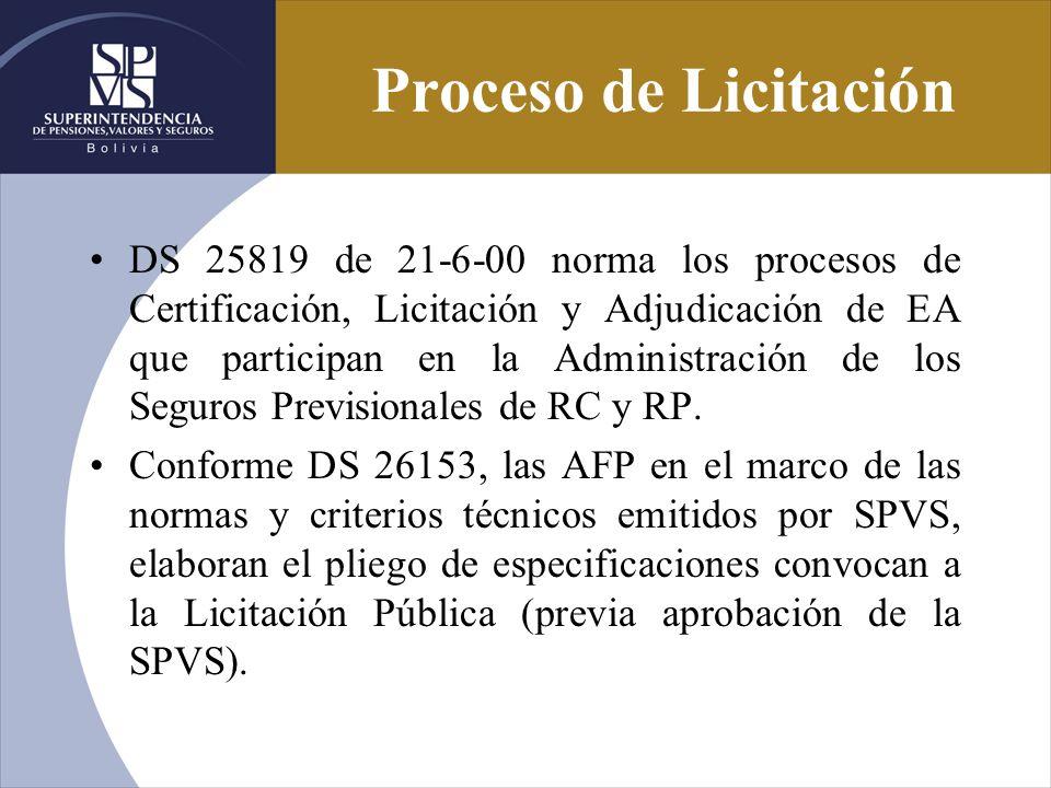 Proceso de Licitación DS 25819 de 21-6-00 norma los procesos de Certificación, Licitación y Adjudicación de EA que participan en la Administración de