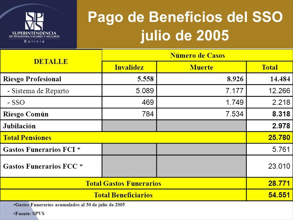 Pago de Beneficios del SSO julio de 2005 DETALLE Número de Casos InvalidezMuerteTotal Riesgo Profesional5.5588.92614.484 - Sistema de Reparto 5.0897.1