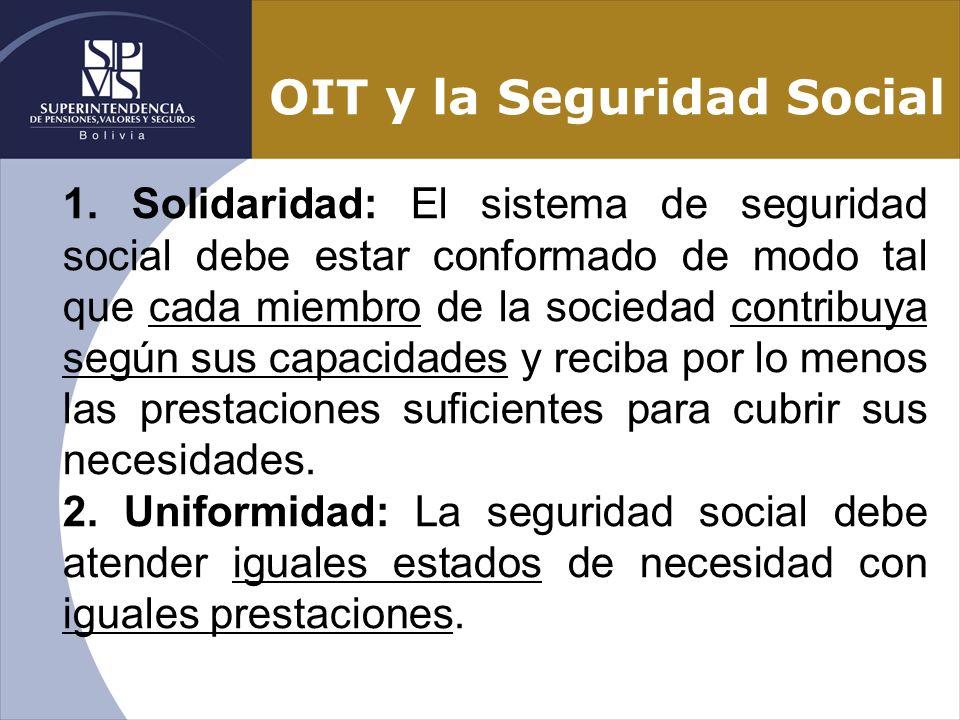 OIT y la Seguridad Social 1. Solidaridad: El sistema de seguridad social debe estar conformado de modo tal que cada miembro de la sociedad contribuya