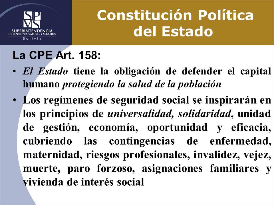 Constitución Política del Estado La CPE Art. 158: El Estado tiene la obligación de defender el capital humano protegiendo la salud de la población Los