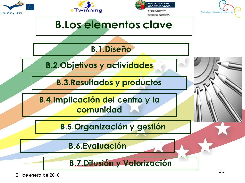 Haga clic para modificar el estilo de título del patrón Haga clic para modificar el estilo de texto del patrón –Segundo nivel Tercer nivel –Cuarto nivel »Quinto nivel 21 21 de enero de 2010 21 B.Los elementos clave B.1.Diseño B.5.Organización y gestión B.4.Implicación del centro y la comunidad B.2.Objetivos y actividades B.3.Resultados y productos B.6.Evaluación B.7.Difusión y Valorización
