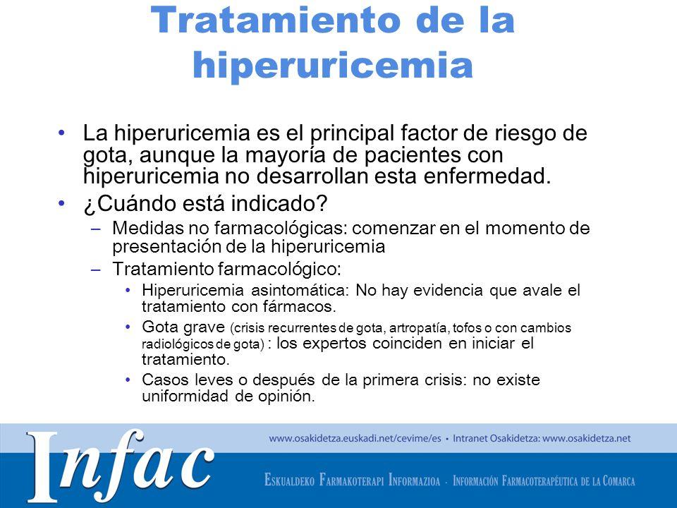 http://www.osakidetza.euskadi.net Tratamiento de la hiperuricemia La hiperuricemia es el principal factor de riesgo de gota, aunque la mayoría de pacientes con hiperuricemia no desarrollan esta enfermedad.