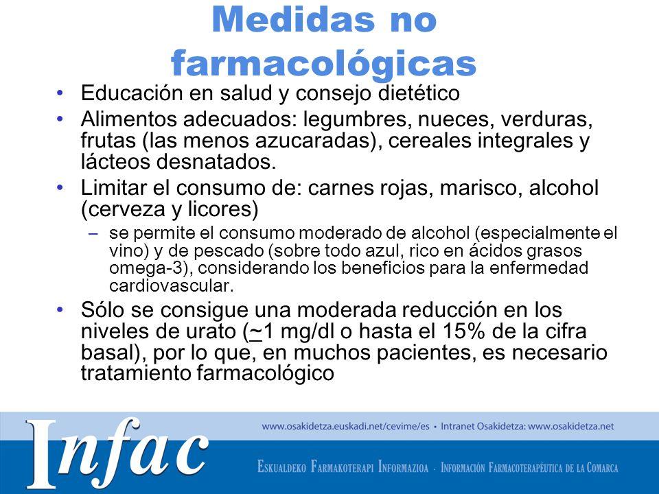http://www.osakidetza.euskadi.net Medidas no farmacológicas Educación en salud y consejo dietético Alimentos adecuados: legumbres, nueces, verduras, frutas (las menos azucaradas), cereales integrales y lácteos desnatados.