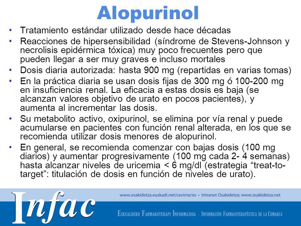 http://www.osakidetza.euskadi.net Alopurinol Tratamiento estándar utilizado desde hace décadas Reacciones de hipersensibilidad (síndrome de Stevens-Johnson y necrolisis epidérmica tóxica) muy poco frecuentes pero que pueden llegar a ser muy graves e incluso mortales Dosis diaria autorizada: hasta 900 mg (repartidas en varias tomas) En la práctica diaria se usan dosis fijas de 300 mg ó 100-200 mg en insuficiencia renal.