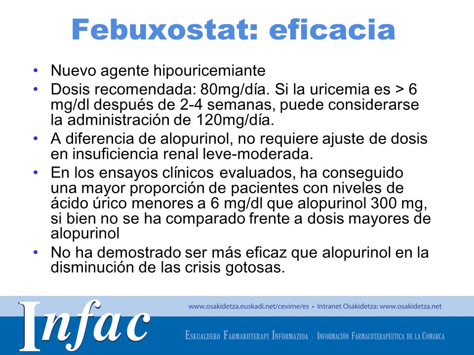 http://www.osakidetza.euskadi.net Febuxostat: eficacia Nuevo agente hipouricemiante Dosis recomendada: 80mg/día. Si la uricemia es > 6 mg/dl después d
