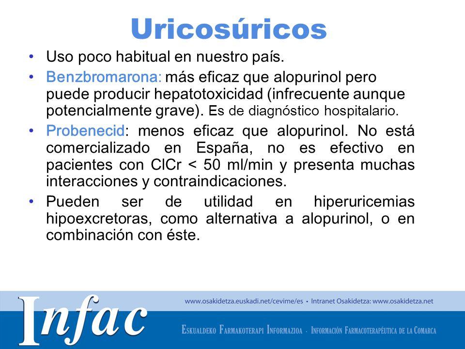 http://www.osakidetza.euskadi.net Uricosúricos Uso poco habitual en nuestro país. Benzbromarona: más eficaz que alopurinol pero puede producir hepatot