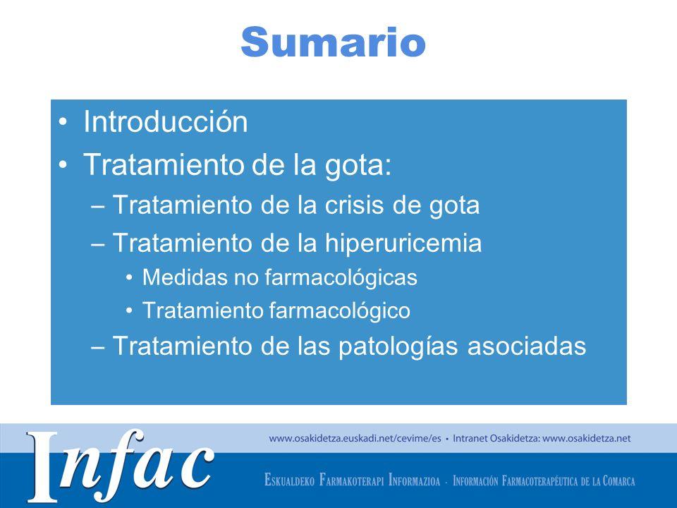 http://www.osakidetza.euskadi.net Sumario Introducción Tratamiento de la gota: –Tratamiento de la crisis de gota –Tratamiento de la hiperuricemia Medidas no farmacológicas Tratamiento farmacológico –Tratamiento de las patologías asociadas