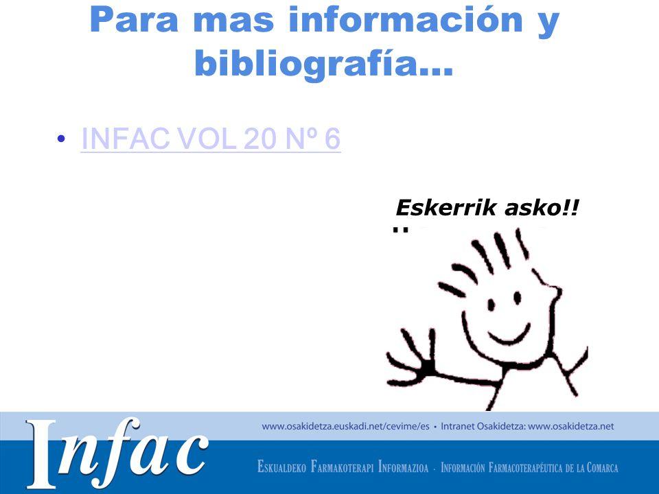 http://www.osakidetza.euskadi.net Para mas información y bibliografía… INFAC VOL 20 Nº 6 Eskerrik asko!!