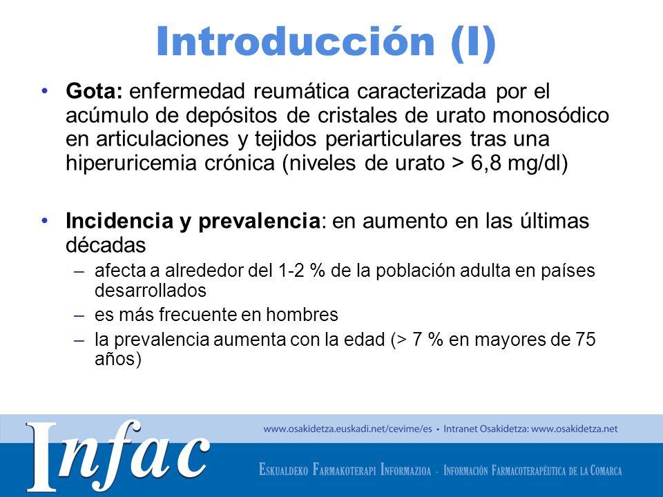 http://www.osakidetza.euskadi.net Introducción (I) Gota: enfermedad reumática caracterizada por el acúmulo de depósitos de cristales de urato monosódi