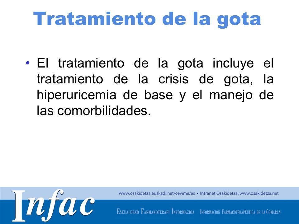 http://www.osakidetza.euskadi.net Tratamiento de la gota El tratamiento de la gota incluye el tratamiento de la crisis de gota, la hiperuricemia de base y el manejo de las comorbilidades.