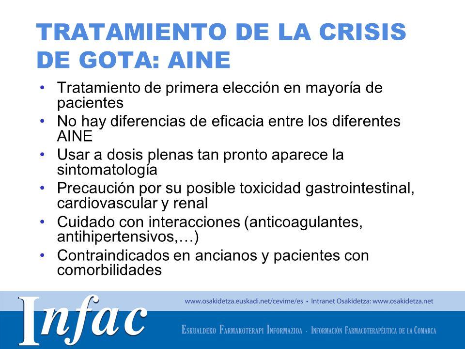 http://www.osakidetza.euskadi.net TRATAMIENTO DE LA CRISIS DE GOTA: AINE Tratamiento de primera elección en mayoría de pacientes No hay diferencias de