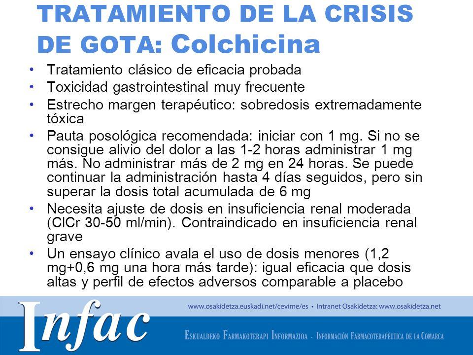 http://www.osakidetza.euskadi.net TRATAMIENTO DE LA CRISIS DE GOTA: Colchicina Tratamiento clásico de eficacia probada Toxicidad gastrointestinal muy