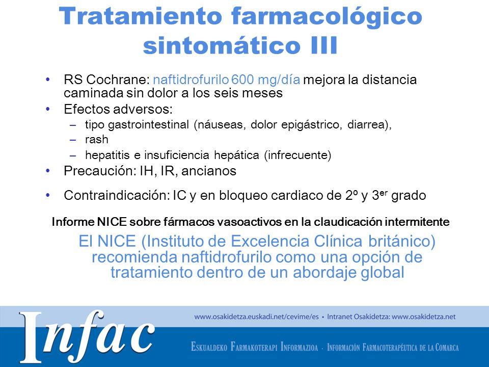 http://www.osakidetza.euskadi.net Tratamiento farmacológico sintomático III RS Cochrane: naftidrofurilo 600 mg/día mejora la distancia caminada sin do