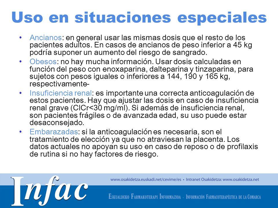 http://www.osakidetza.euskadi.net Uso en situaciones especiales Ancianos: en general usar las mismas dosis que el resto de los pacientes adultos. En c