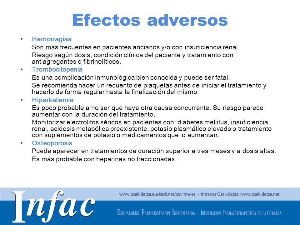 http://www.osakidetza.euskadi.net Efectos adversos Hemorragias: Son más frecuentes en pacientes ancianos y/o con insuficiencia renal. Riesgo según dos