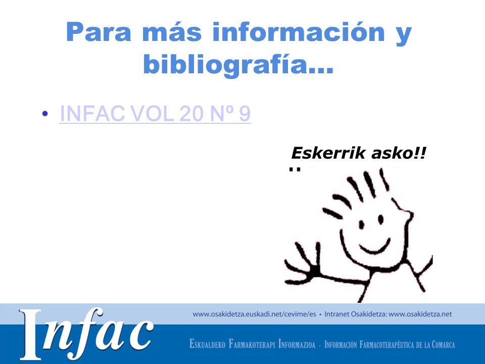 http://www.osakidetza.euskadi.net Para más información y bibliografía… INFAC VOL 20 Nº 9 Eskerrik asko!!