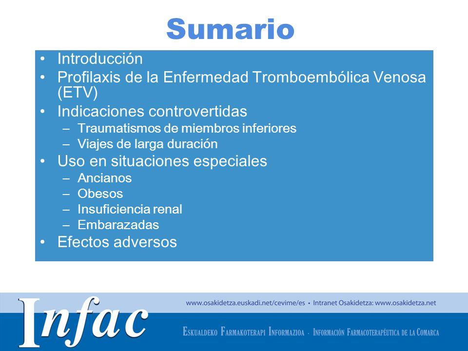 http://www.osakidetza.euskadi.net Sumario Introducción Profilaxis de la Enfermedad Tromboembólica Venosa (ETV) Indicaciones controvertidas –Traumatism