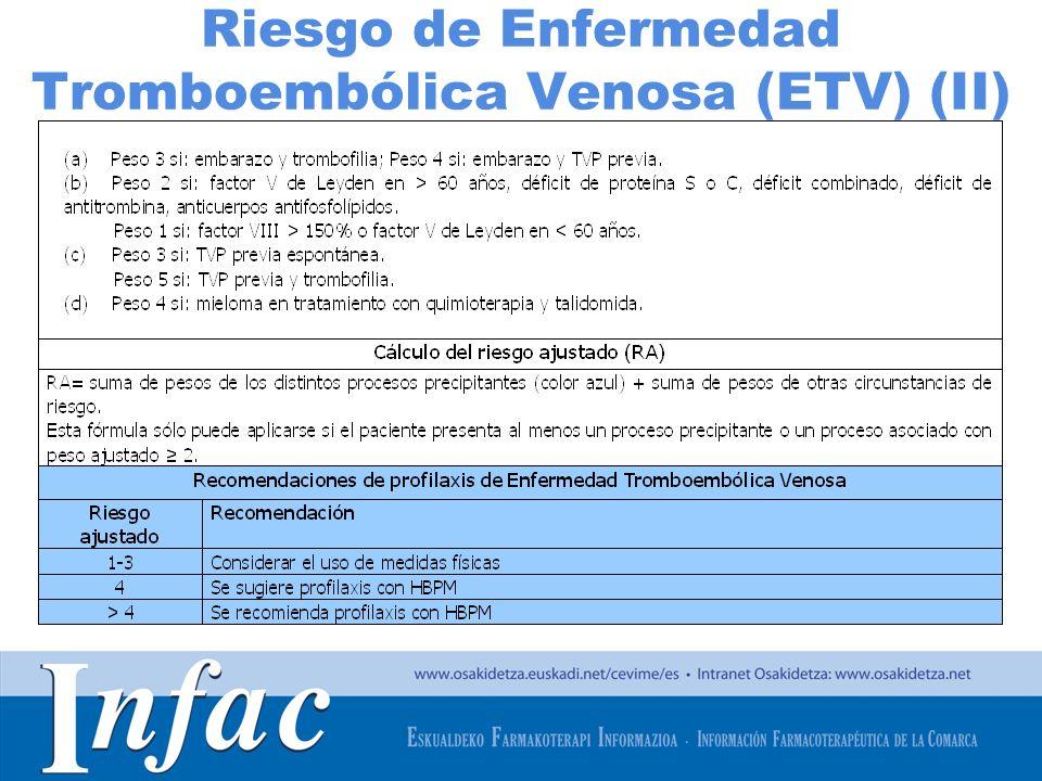 http://www.osakidetza.euskadi.net Riesgo de Enfermedad Tromboembólica Venosa (ETV) (II)