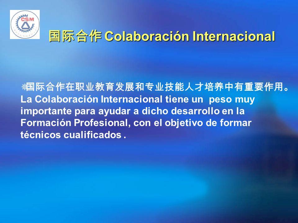 Colaboración Internacional Colaboración Internacional La Colaboración Internacional tiene un peso muy importante para ayudar a dicho desarrollo en la Formación Profesional, con el objetivo de formar técnicos cualificados.