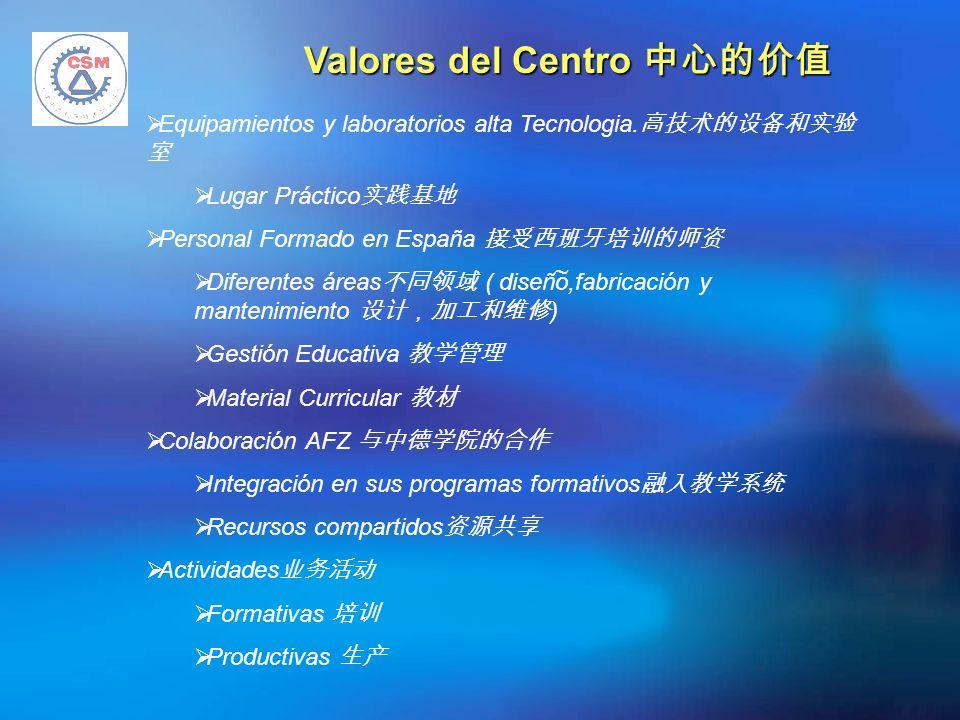 Valores del Centro Valores del Centro Equipamientos y laboratorios alta Tecnologia. Lugar Práctico Personal Formado en España Diferentes áreas ( diseñ