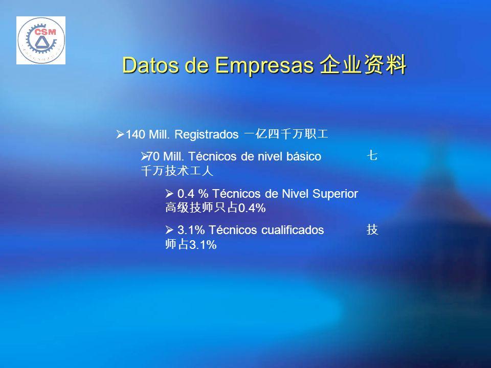 140 Mill. Registrados 70 Mill. Técnicos de nivel básico 0.4 % Técnicos de Nivel Superior 0.4% 3.1% Técnicos cualificados 3.1% Datos de Empresas Datos
