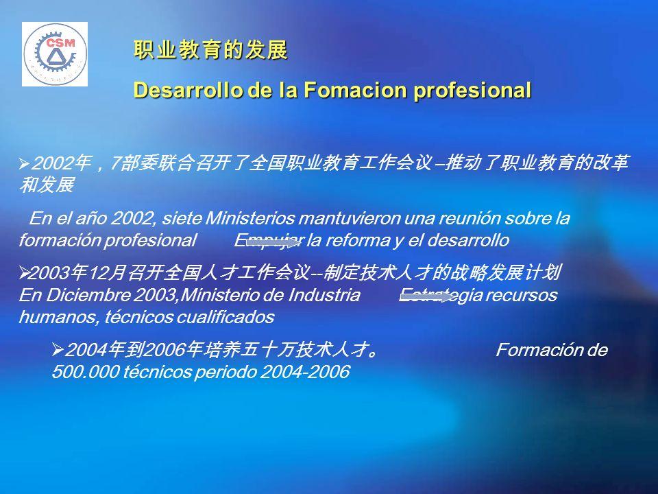Desarrollo de la Fomacion profesional 2002 7 – En el año 2002, siete Ministerios mantuvieron una reunión sobre la formación profesional Empujar la reforma y el desarrollo 2003 12 -- En Diciembre 2003,Ministerio de Industria Estrategia recursos humanos, técnicos cualificados 2004 2006 Formación de 500.000 técnicos periodo 2004-2006