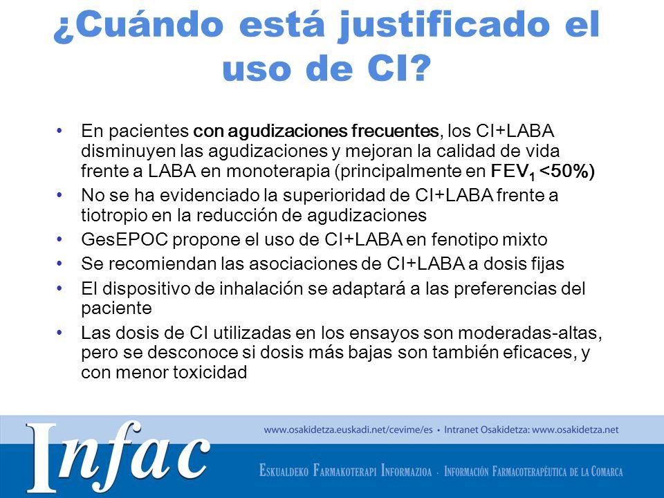 http://www.osakidetza.euskadi.net ¿Cuándo está justificado el uso de CI? En pacientes con agudizaciones frecuentes, los CI+LABA disminuyen las agudiza