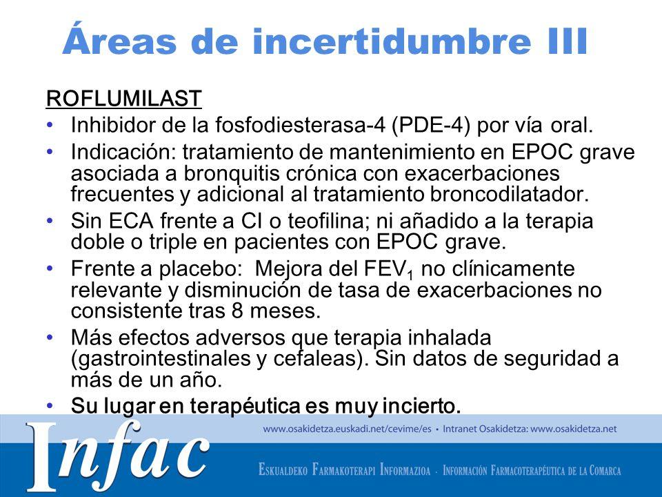 http://www.osakidetza.euskadi.net Áreas de incertidumbre III ROFLUMILAST Inhibidor de la fosfodiesterasa-4 (PDE-4) por vía oral. Indicación: tratamien