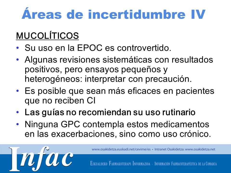 http://www.osakidetza.euskadi.net Áreas de incertidumbre IV MUCOLÍTICOS Su uso en la EPOC es controvertido. Algunas revisiones sistemáticas con result