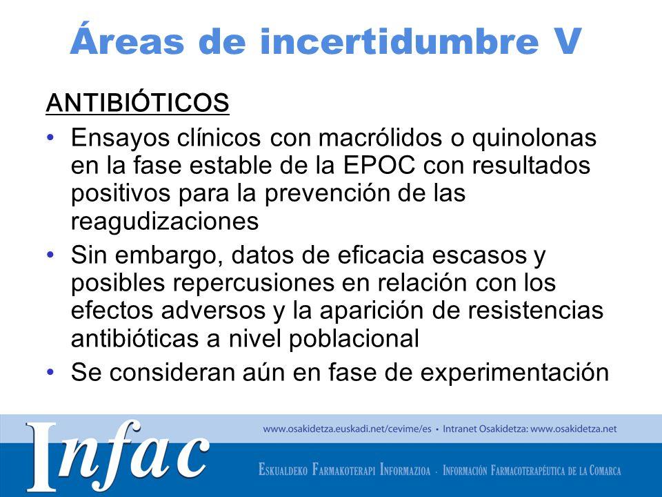 http://www.osakidetza.euskadi.net Áreas de incertidumbre V ANTIBIÓTICOS Ensayos clínicos con macrólidos o quinolonas en la fase estable de la EPOC con