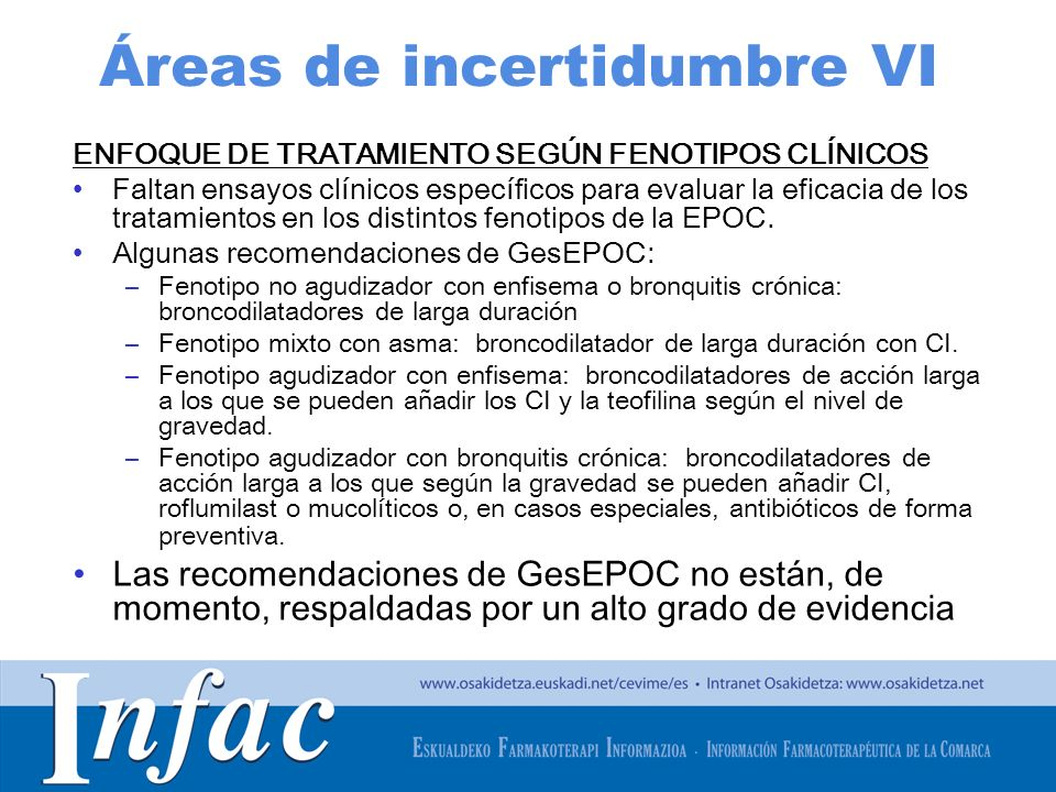 http://www.osakidetza.euskadi.net Áreas de incertidumbre VI ENFOQUE DE TRATAMIENTO SEGÚN FENOTIPOS CLÍNICOS Faltan ensayos clínicos específicos para e