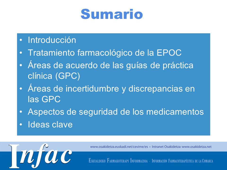 http://www.osakidetza.euskadi.net Sumario Introducción Tratamiento farmacológico de la EPOC Áreas de acuerdo de las guías de práctica clínica (GPC) Ár