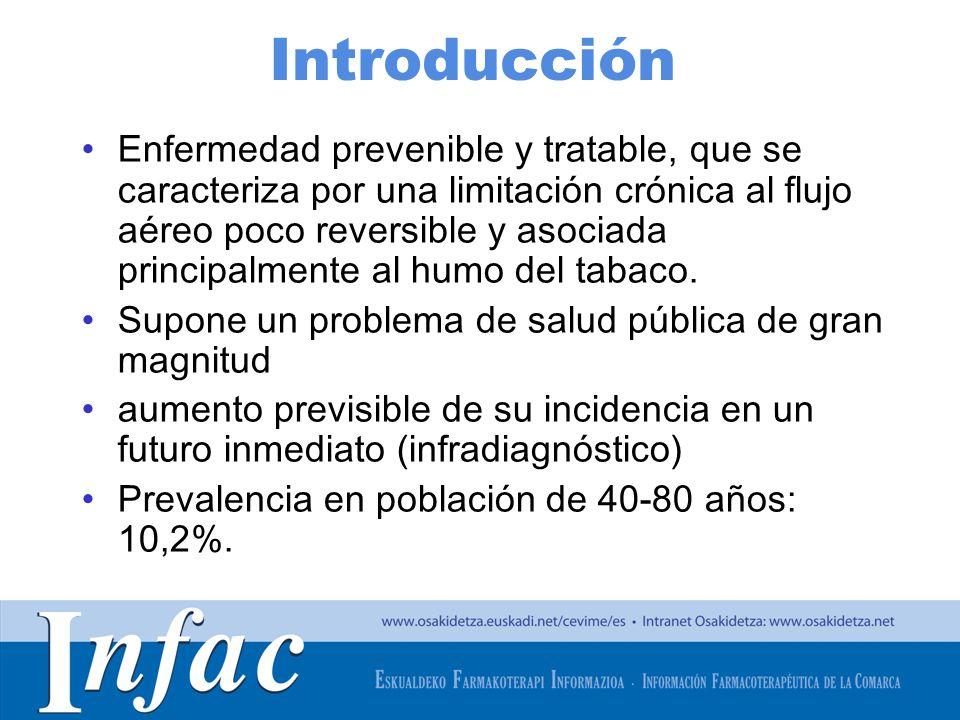 http://www.osakidetza.euskadi.net Áreas de incertidumbre II TRIPLE TERAPIA (LAMA+LABA+CI) La evidencia es demasiado limitada como para recomendarla de rutina en todos los pacientes con FEV 1 < 50% En general, se recomienda en EPOC grave o muy grave con mal control de síntomas y riesgo elevado de exacerbaciones LAMA (tiotropio) + CI No existen ensayos clínicos que comparen esta opción, por lo que esta combinación no se suele recoger en las recomendaciones de las GPC.