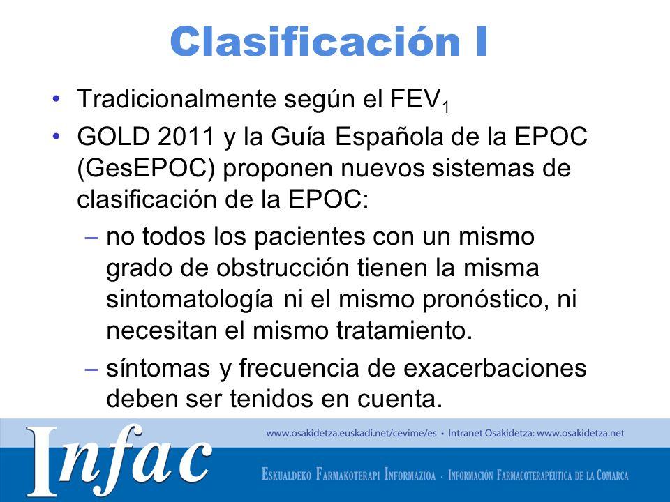 http://www.osakidetza.euskadi.net Clasificación GOLD 2011 A: GOLD 1-2, y/o 0-1 exacerbación/año y pocos síntomas (grados 0-1 en la escala de disnea modificada del Medical Research Council –mMRC-) B: GOLD 1-2, y/o 0-1 exacerbación/año y más síntomas (mMRC 2) C: GOLD 3-4, y/o 2 exacerbaciones/año y pocos síntomas (mMRC 0-1) D: GOLD 3-4 y/o 2 exacerbaciones/año y más síntomas (mMRC 2)
